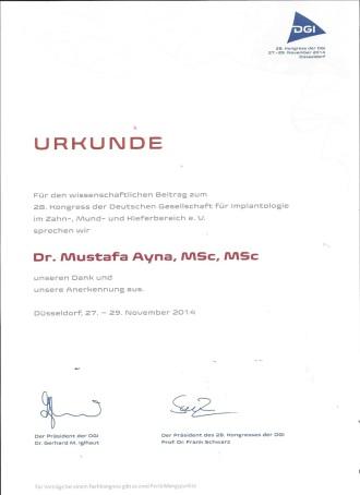 Dr Mustafa Ayna Urkunde für den Beitrag zum Kongress Zahnimplantate DGI Düsseldorf 2014