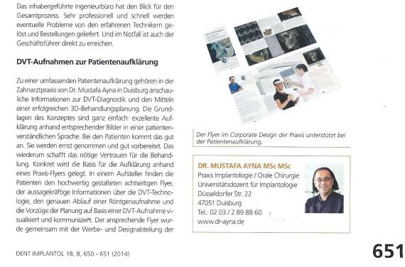 Implantologie Zeitschrift DVT Dr. Ayna