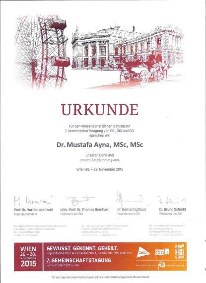 Urkunde für Dr. Ayna von Wien DGi