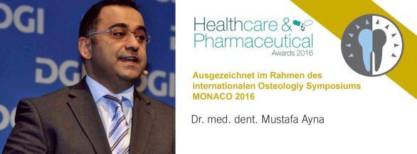 Auszeichnung von Dr. Mustafa Ayna mit dem Healthcare & Pharmaceutical Award 2016