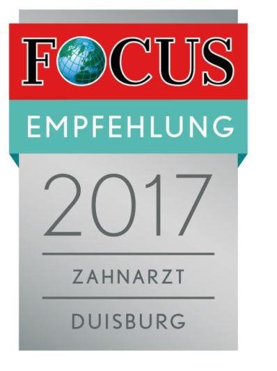 Focus Empfehlung 2017 der Praxis Dr. Ayna in Duisburg