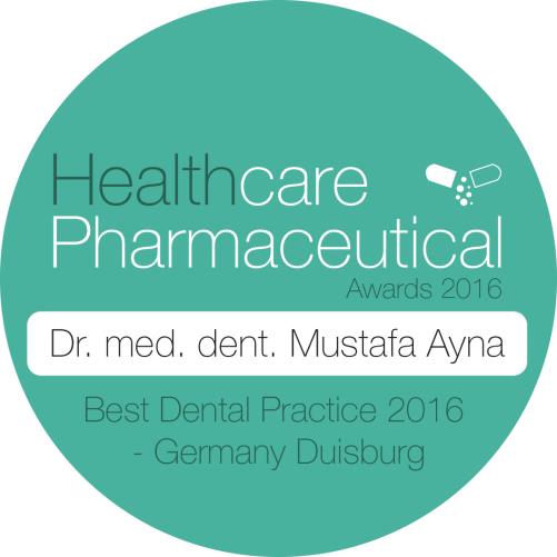 Healthcare Pharmaceutical Award für Dr. med. dent. Mustafa Ayna als beste Zahnarztpraxis in Duisburg