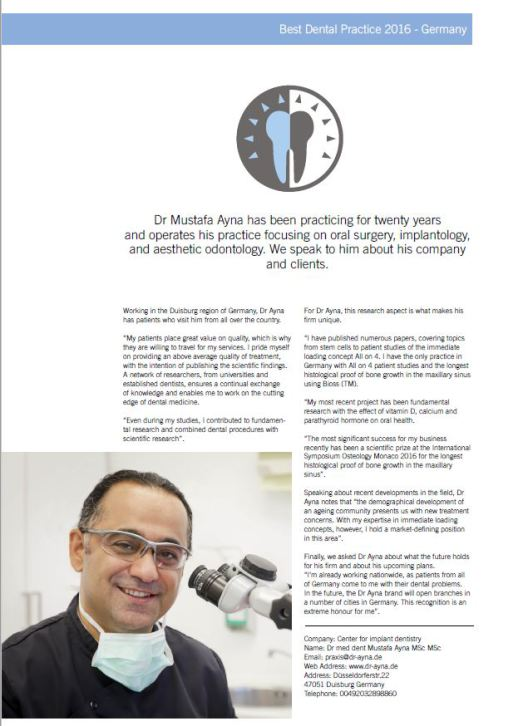 Artkiel über Zahnarztpraxis Dr. Ayna als bester Zahnarzt in Duisburg