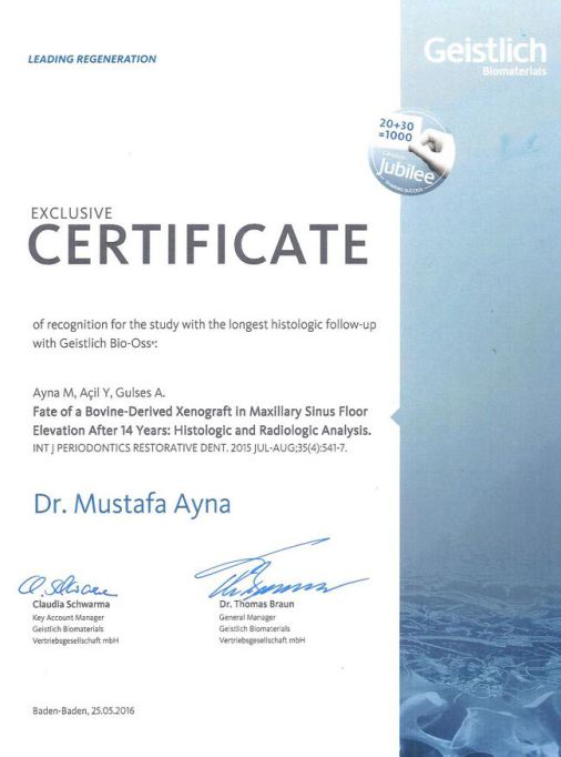 Certificate Dr. Mustafa Ayna for Histologic and Radiologic Analysis